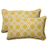 Pillow Perfect Indoor/Outdoor Rossmere Corded Rectangular Throw Pillow, Yellow, Set of 2