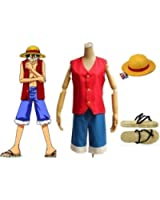 One Piece Monkey D Luffy Cosplay Costume Set, Size L