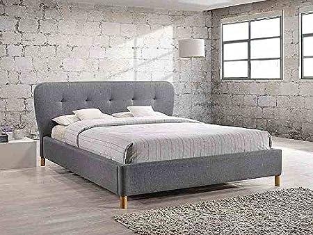 Lit complet BELLA au style scandinave en tissu gris et pied en bois 160x200