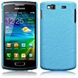 SAMSUNG S8600 WAVE 3 BABY BLUE TEXTURED PU LEATHER ONE-PIECE SNAP CASE / SHELL / SHIELD PART OF THE QUBITS ACCESSORIES RANGEby Qubits