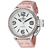 TW Steel Canteen 45mm cadran blanc cristal-set Bezel rose en cuir Ladies Watch STW36