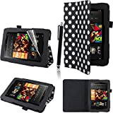 Executive PU Leather Amazon Kindle Fire HD 7 inch 2013 Case Cover Multi Function Standby Bi-Fold Stand with Built-in Magnet for Sleep / Wake Feature + Screen Protector + Capacitive Stylus Pen for New Kindle Fire HD 7-inch 2013 Tablet 16GB or 32GB - Black