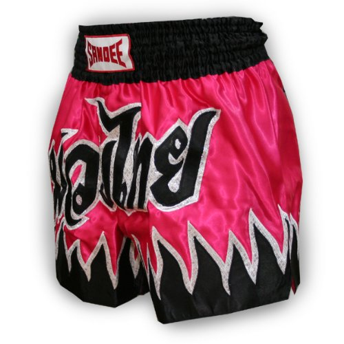 Sandee - Vanquish Satin Thai Shorts - Dark Pink/Black - Size XL (For Boxing, MMA, UFC, Muay Thai)