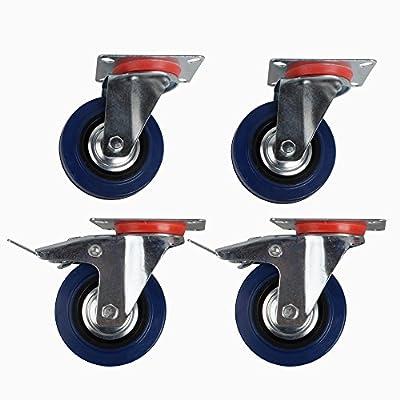 SPEED 4x75mm Transportrollen Lenkrollen Wheel Schwerlastrollen m/o Bremse Blau&Silber von SPEED bei Gartenmöbel von Du und Dein Garten