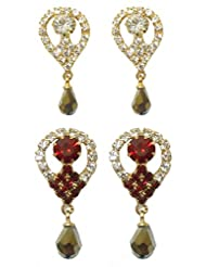 DollsofIndia Set Of Two Stone Studded Dangle Earrings - Stone And Metal - White