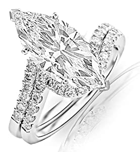 1.28 Carat Marquise Cut / Shape 14K White Gold Curving Pave & Prong-set Round Diamond Engagement Ring ( J Color , SI1 Clarity )