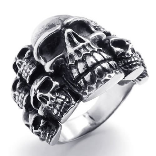 Size 11 - KONOV Jewelry Biker Mens Gothic Skull Stainless Steel Ring, Color Black Silver