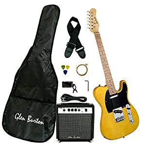 Glen Burton GE102BCO Telecaster-Style Electric Guitar Combo with Accessories and Amplifier, Butter from Bridgecraft