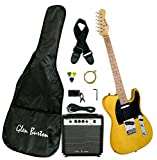 Glen Burton GE102BCO Telecaster-Style Electric Guitar Combo with Accessories and Amplifier, Butter