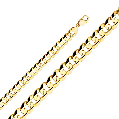 Wellingsale 14k Yellow Gold Solid 12mm Polished Cuban Concaved