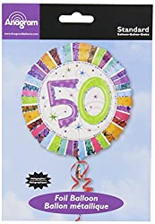 Anagram International Radiant Birthday 50 Balloon, 18, Multicolor