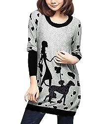 Tourwin Fall Winter Women Dog and Lady Pattern Tunic Knit Top