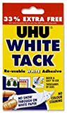 UHU White Tack Mastic Adhesive No Stain Handy Pack 33percent Extra FREE Ref 43481 [Pack 12] Jan-Mar 2009 [per Pack: 12]
