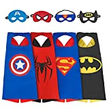 AMASKY Dress Up Costume Set of Superhero 4 Satin Capes with Felt Masks For Kids