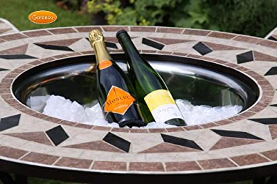 Ice Bowl For Mosaic Tiled Round Firebowl Bbq Firepit Table And 4 Seats 51cm Diam by UK-Gardens