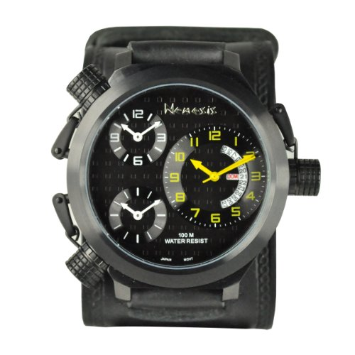 Nemesis Men's KIN080KY Signature 3-TimeZone Yellow Black Leather Band Watch