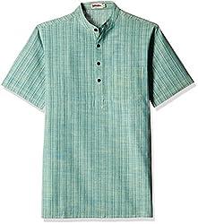 Fabindia Men's Mid-Thigh Cotton Kurta  (10422512_36_Green)