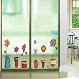 New Cartoon Flower Butterfly Wall Stickers DIY Decal On The Window Glass Wall Home Decoration Adesivo De Parede...