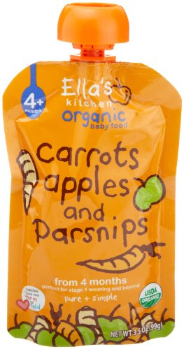 Ella'S Kitchen Organic Baby Food Carrots, Apples And Parsnips (4 Plus Months), 3.5 Ounce Pouches (Pack Of 7)