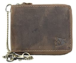 Large Strong Genuine Leather Wallet with Metal Zip Around (zipper around) with Shark with Chain