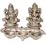 Little India White Metal Lord Laxmi Ganesha With Diya Set (15.24 Cm X 12.7 Cm X 10.16 Cm)