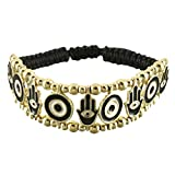 "Black Cord Bracelet with With Black Evil Eye and Hamsa Links in Gold Plated Center – 7 Length"" Picture"