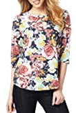 M&S Collection Pure Cotton Slash Neck Floral Top [T41-2656M-S]
