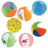 "Inflatable 12"" Beach Balls (18-Pack) - 8 Rainbow Beach Balls, 10 Designer"