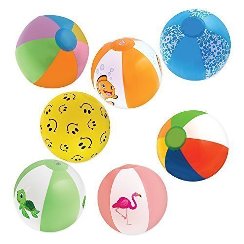 "Inflatable 12"" Beach Balls  - 8 Rainbow Beach Balls, 10 Desi"