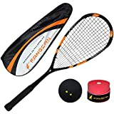 Fangcan Darkness 7 Graphite Squash Racket Lightweight Prestrung Include Cover and Squash Ball and Overgrip