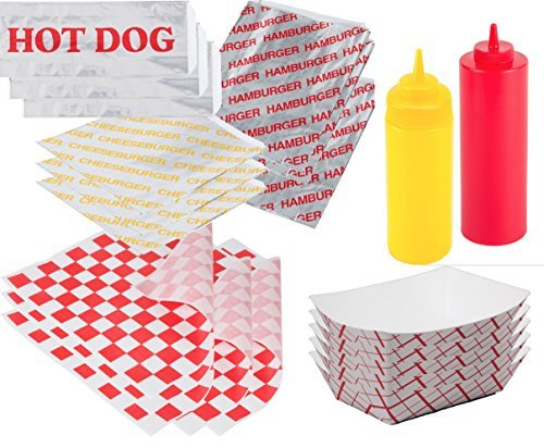 Ketchup & Mustard Hamburger & Hot Dog Foil Wrap Bags - Food Tray Containers + 25 Hamburger & Cheeseburger Bags & 25 Hot Dog Foil Wraps 50 sandwich outdoor picnic party BBQ fun pack sandwich papers (Hot Dog Carnival compare prices)