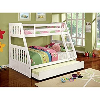 Furniture of America Garvey Twin-Full Bunk Bed, White