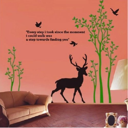 Wall Decor Decal Stickers Removable Large Tree Dear With Fallen Deer Black