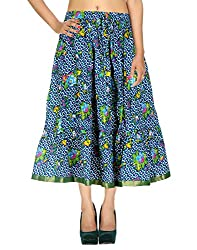 Handmade Casual Skirt Cotton Blue Floral Printed For Her By Rajrang