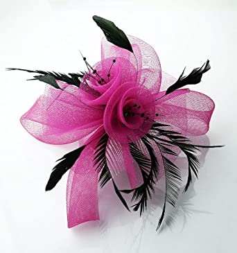Ladies Black and Pink Feather Loop Fascinator on Comb