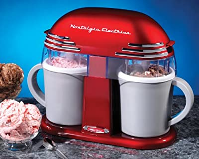 Nostalgia Electrics DIC200RETRORED Retro Series Double Ice Cream Maker by EMG East, Inc. (direct order)