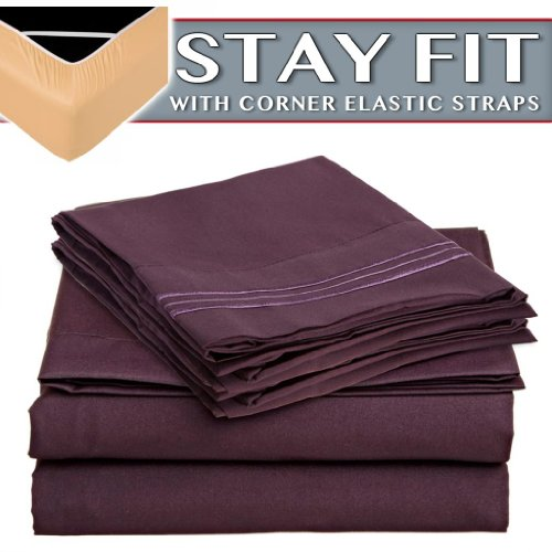 "Clara Clark 1800 Series Bed Sheet Sets - Stay Fit On Mattress With Elastic Straps At Corners - Twin (Single), Purple Eggplant (75""X39"" Fits Xl) front-765181"