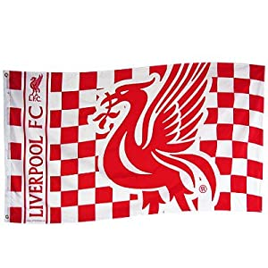 Liverpool Fc Flag Red & Whitechequered With Club Logo Crest Large 5Ft X3Ft by RetailZone