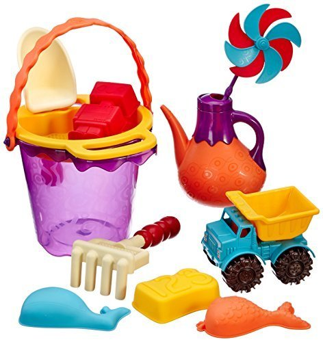 B.Ready Beach Bag/Sand Toys/Garden Toys/Tub Toys - Purple Bucket and Orange Sifter (top) by Maison Joseph Battat Ltd.