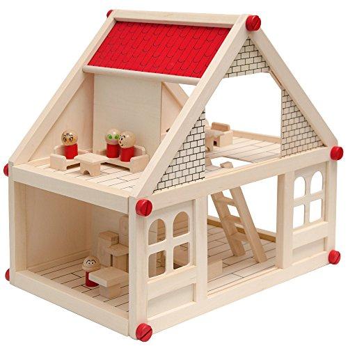 Puppenhaus aus Holz für Kinder, 2-stöckig |