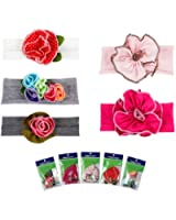Bundle Monster 5pc Baby Cotton Stretch Pretty Rose Tulip Flower Hair Headband Mixed Color Lot for Girls / Fits 0-4 yrs Toddler