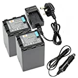 DSTE 2pcs VW-VBN390 Replacement Li-ion Battery + Charger DC126U for Panasonic HDC-SD800GK, HDC-TM900, HDC-HS900, HDC-SD900, HC-X900M Digital Cameras (Fully Decoded)