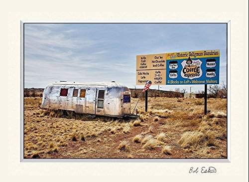 11 x 14 inch mat including a fine art photograph of nostalgic aluminum Airstream Trailer parked on old Route 66 in Arizona. (The Trailers Wife compare prices)