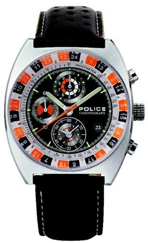 Police Speedster Gents Black PU Strap and Black chronograph dial watch