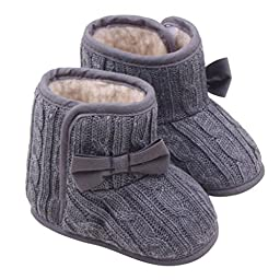 Mosunx Toddler Infant Baby Winter Cute Boots Bowknot Soft Sole Shoes (13, Gray)