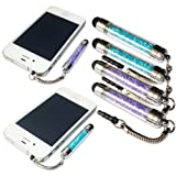 2xNo1accessory new purple + blue crystal shaft stylus pen for HTC Desire 516 sony Z3 compact sony E3