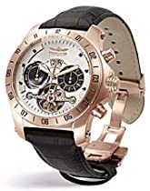 Perigaum Transatlantic Automatic Skeleton Rose Gold Watch - White Dial - 0605RW