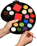 Face Painting Kit 16 color 3 Brushes 3 Sponges Face Paint Made in USA Great for Halloween, Theme Parties, Cosplay. FDA Compliant, Hypoallergenic 100% Safe! Hours of fun for kids & adults