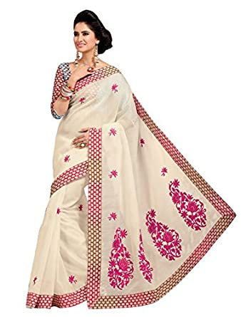 Triveni Indian Designer Party Wear Off White Evoking Embroidered Cotton Saree available at Amazon for Rs.1318