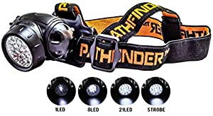 PATHFINDER 21 LED Headlamp Headlight - Water-resistant. 4 Modes Of Operation, Head Safety, Lamp, Flash Light, Torch For Cycling, Climbing, Mountain Biking, Camping, Night Reading. Adjustable Beam Angle. 100,000 Hours LED lifetime (in RETAIL PACKAGING) (BLACK)